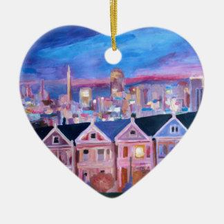 San Francisco pintó a señoras Adorno De Cerámica En Forma De Corazón