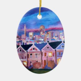 San Francisco pintó a señoras Adorno Ovalado De Cerámica