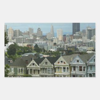 San Francisco Postcard Row City Scene Photography Rectangular Sticker