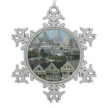 San Francisco Postcard Row City Scene Photography Snowflake Pewter Christmas Ornament