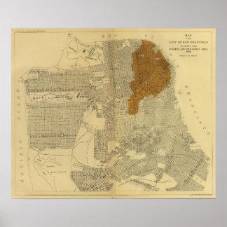 San Francisco quemó el área, 1906 Poster