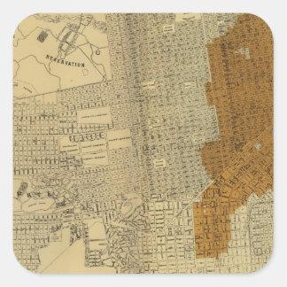 San Francisco quemó el área, 1906 Pegatina Cuadrada