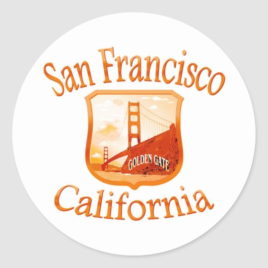 San Francisco Red Yellow Classic Round Sticker