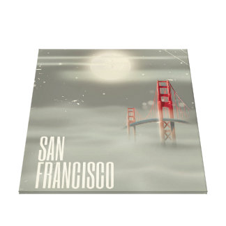 San Francisco Retro Travel poster Canvas Print