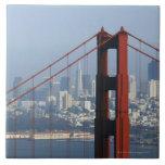 San Francisco seen trough Golden Gate Bridge. Large Square Tile