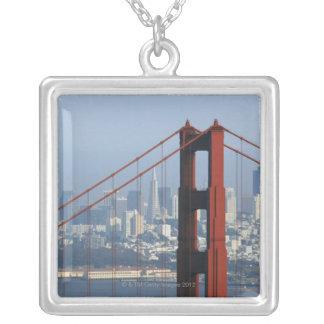 San Francisco seen trough Golden Gate Bridge. Square Pendant Necklace