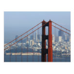 San Francisco seen trough Golden Gate Bridge. Postcard