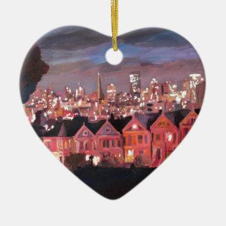San Francisco - señoras pintadas Adorno De Cerámica En Forma De Corazón