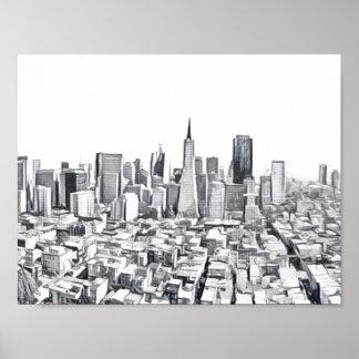 San Francisco SF Citiscape Poster