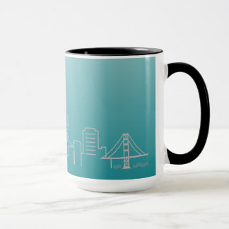 San Francisco Silver City Skyline Ringer Mug