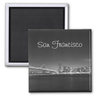 San Francisco Skyline Black White Photo Magnet