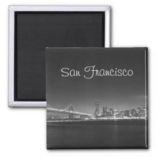 San Francisco Skyline Black White Photo Magnet