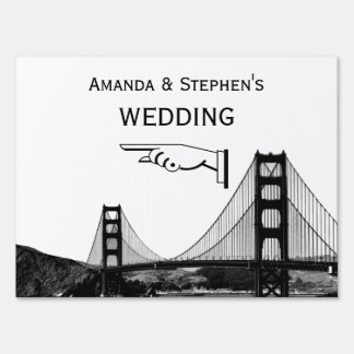 San Francisco Skyline Bridge Wedding Sign Medium