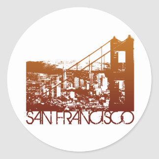 San Francisco Skyline Design Classic Round Sticker