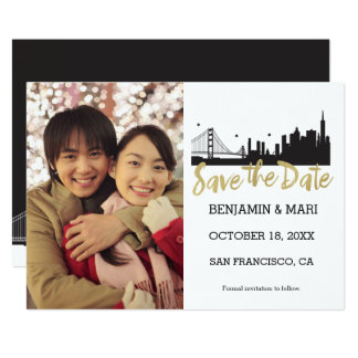 San Francisco Skyline Gold Script Save the Date Card