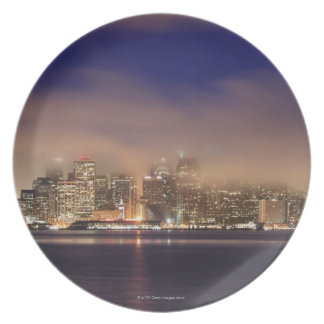 San Francisco skyline in fog at night. Melamine Plate