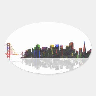 San Francisco Skyline Oval Sticker