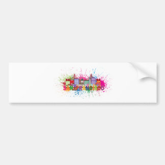 San Francisco Skyline Paint Splatter Illustration Bumper Sticker