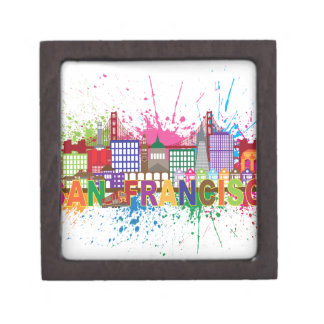 San Francisco Skyline Paint Splatter Illustration Jewelry Box