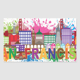 San Francisco Skyline Paint Splatter Illustration Rectangular Sticker