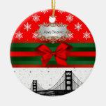 San Francisco Skyline Red Snowflake Christmas Christmas Ornaments