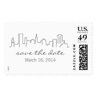 San Francisco Skyline Save the Date Stamp