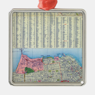 San Francisco Street Map Christmas Ornaments