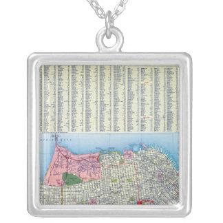 San Francisco Street Map Square Pendant Necklace