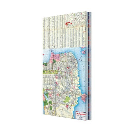San Francisco Street Map Stretched Canvas Print