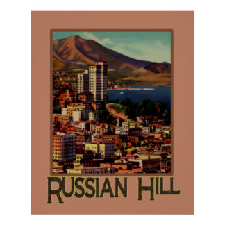 San Francisco Sunset on Russian Hill Travel Poster