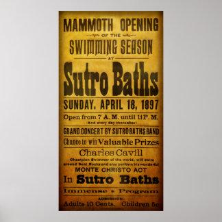 SAN FRANCISCO SUTRO BATHS OPEN  1897 POSTER
