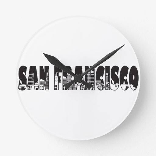 San Francisco Text Outline Illustration Round Wall Clocks