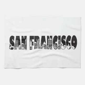 San Francisco Text Outline Illustration Kitchen Towel