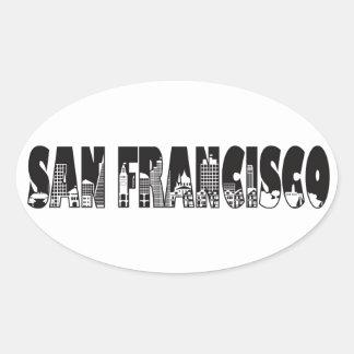 San Francisco Text Outline Illustration Oval Sticker