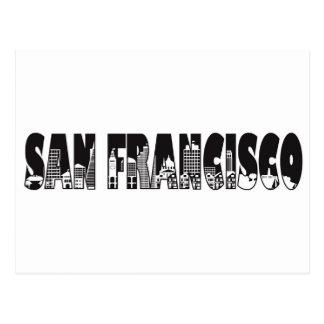 San Francisco Text Outline Illustration Postcard