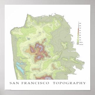San Francisco Topo Map - White - 12x12 Poster
