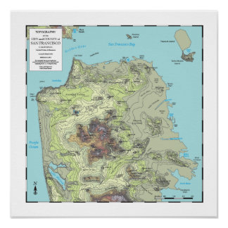 San Francisco Topography Map (2013) Poster