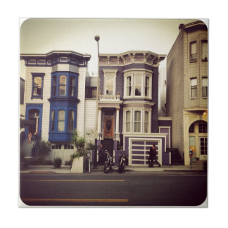 San Francisco Unique Blue and Purple Houses Tile