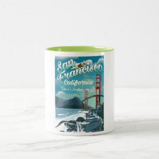 San Francisco Vacation travel poster Two-Tone Coffee Mug