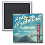 San Francisco Vacation vintage travel poster 2 Inch Square Magnet