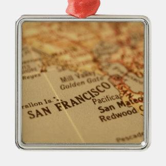 SAN FRANCISCO VINTAGE MAP CHRISTMAS TREE ORNAMENTS