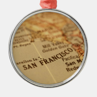 SAN FRANCISCO VINTAGE MAP CHRISTMAS TREE ORNAMENT