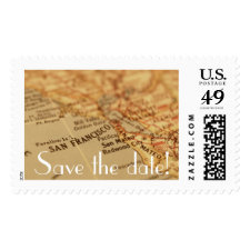 SAN FRANCISCO Vintage Map Save the Date Postage