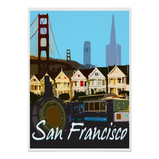 San Francisco Vintage Montage Travel Poster Zazzle Com