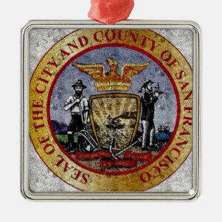 San Francisco Vintage seal Metal Ornament