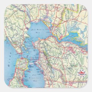 San Francisco y vecindad Calcomania Cuadradas Personalizadas
