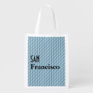 San Franciso Architectural Lines Blue Grid Pattern Market Totes