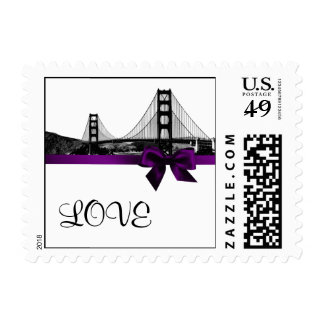San Franciso Skyline Etched BW Purple LOVE small Postage