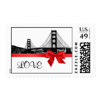 San Franciso Skyline Etched BW Red LOVE Postage Stamp