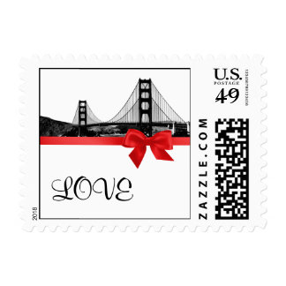 San Franciso Skyline Etched BW Red LOVE small Postage
